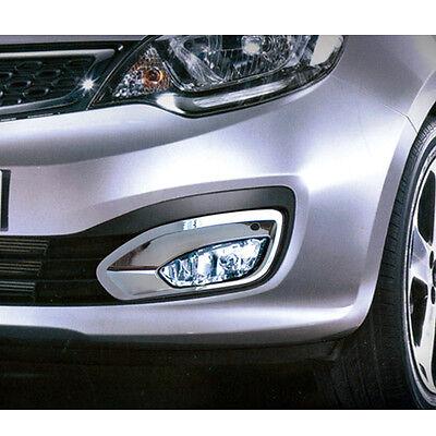 Chrome Front Fog Lamp Cover Molding Garnish 2p For 2012 2013 Kia Rio