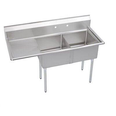 Stainless Steel 57 X 27 2 Double Two Compartment Sink W Left Drainboard Nsf