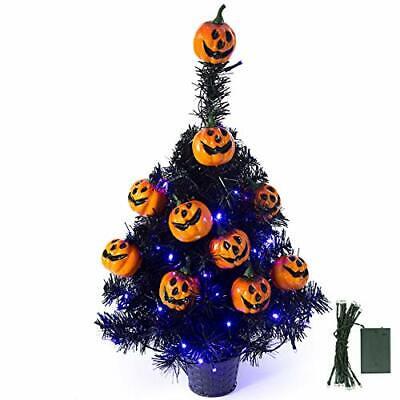 "21.6"" 30 LED Halloween Black Spooky Tree Glittered with Purple Lights & 12 Pump"