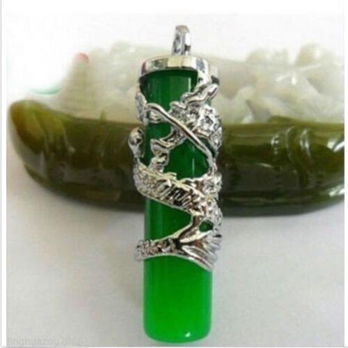 Hot Fashion beautiful Silver Dragon Green Jade Pillar Pendant Necklace Amulet