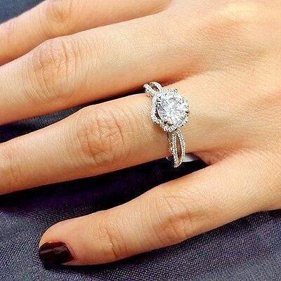 2.10 Ct Round Cut Diamond Split Shank Engagement Ring GIA H,VVS1