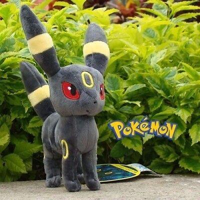 "8"" Pokemon Eevee Umbreon Plush Toy Stuffed Doll Soft Grey Kid Gift USA Seller"