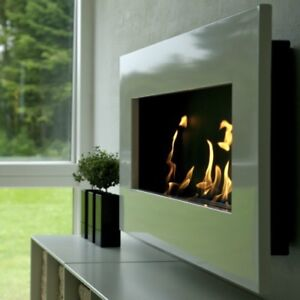 Stainless steel wall mounted clean burning fireplace