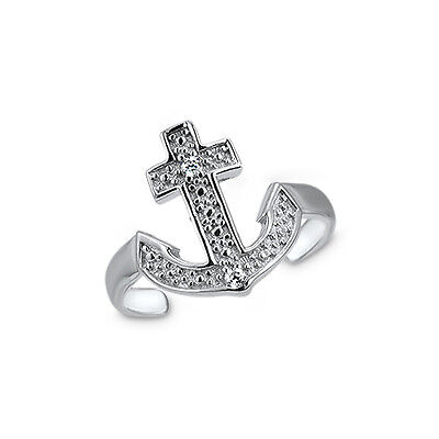 925 Sterling Silver Toe Ring Cross Anchor CZ Cubic Zirconia Jewelry Adjustable