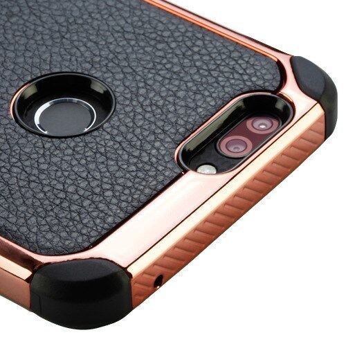 BLACK Rose Gold Lychee CASE COVER +SCREEN FILM FOR ZTE Blade Z Max Z982 /Sequoia