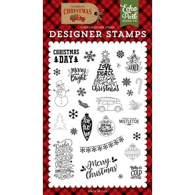 Christmas Day Designer Stamp Set by Echo Park NEW! with Sayings CCH159046 ()