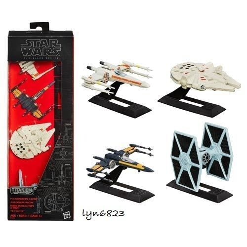 NEW Star Wars Black Series Titanium X-Wing Millennium Falcon Tie Fighter 4pc Set