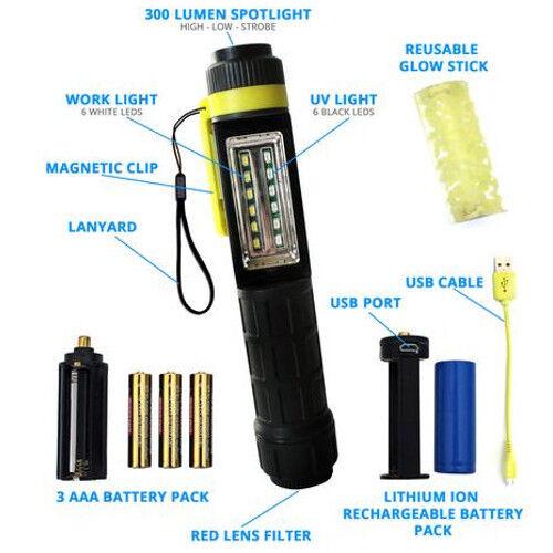 UV Paqlite Mule Light V2 Hybrid Flashlight & Rechargeable Reusable Glow Stick