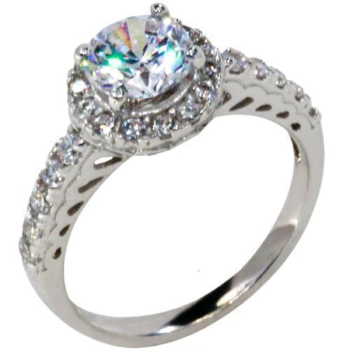 14k white gold cz ring ebay