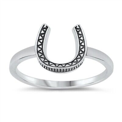 .925 Sterling Silver Oxidized Lucky Horseshoe Band Ring Sizes 4-10 NEW