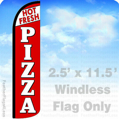 Hot Fresh Pizza - Windless Swooper Feather Flag 2.5x11.5 Banner Sign - Rz