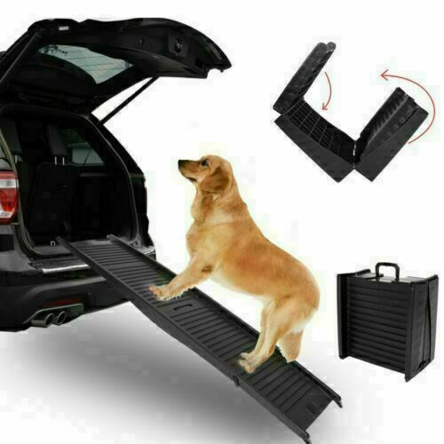 "60"" Foldable Dog Pet Ramp for Car Truck SUV Backseat Stair Steps Travel Ladder"