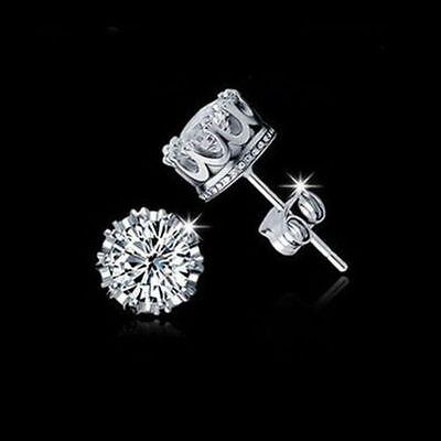 Women Earring 925 Sterling Silver Royal Ear Stud Earrings Jewelry Crystal Clear