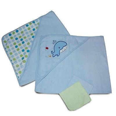 SpaSilk 4 Piece Hooded Towel and Washcloths Set - Blue Whale POLKA DOTS