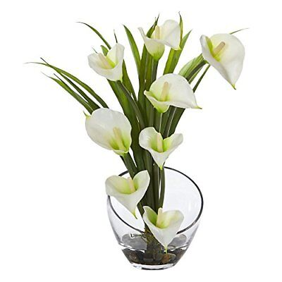 Nearly Natural Calla Lily - Nearly Natural Calla Lily and Grass in Vase, 15.5