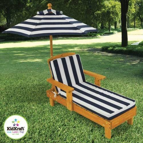 Outdoor Chaise Lounge Umbrella Furniture Wood Adjustable Rec