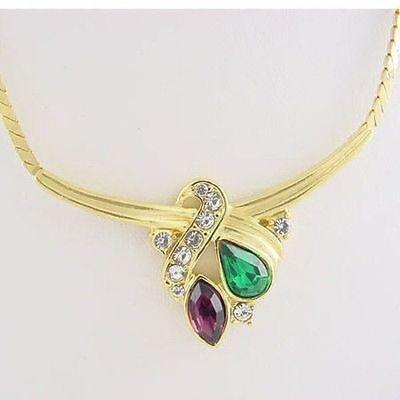 mit Steine Amethyst Lila und Grün Smaragd (Lila Und Gelb Halskette)