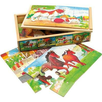 Bino 4 Puzzle Box, Tiere Holz Holzpuzzle Legespiel Holzspielzeug Puzzleset bunt