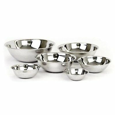 Mixing Bowls Stainless Steel Standard Weight , Mirror Finish, (Set of 6) - Mirror Finish Bowls