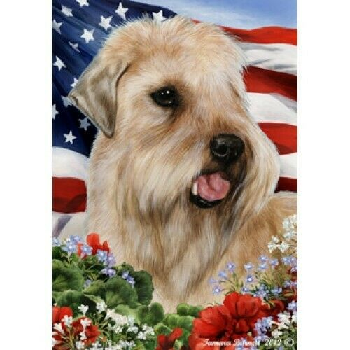 Patriotic (1) House Flag - Wheaten Terrier 16056