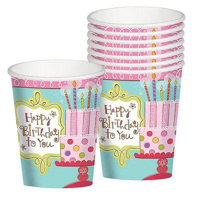 HAPPY BIRTHDAY Sweet Stuff 9oz PAPER CUPS (8) ~ Party Supplies Beverage - Birthday Stuff