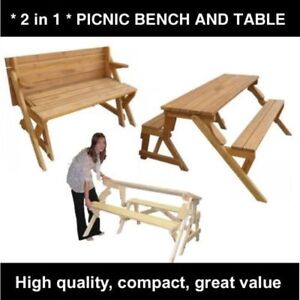 Wood Folding Garden Picnic Table / Bench 2 in 1