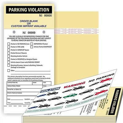 PARKING VIOLATION  2 Part Carbonless Manila Tag with Perf Stub and Adhes 002mnbk