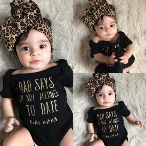 US Stock Newborn Baby Girls Romper Bodysuit Jumpsuit Headban