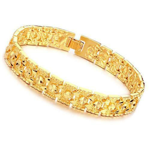 Men s Bracelet Leather Gold Diamond Beaded