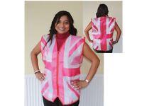 Adult Pink Union Jack UK Flag Fancy Dress Costume Top Waistcoat Security GB NEW