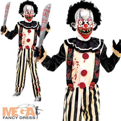Slasher Clown Boys Fancy Dress Spooky Halloween Horror Circus Childs Kid - Spooky Clown Kostüm