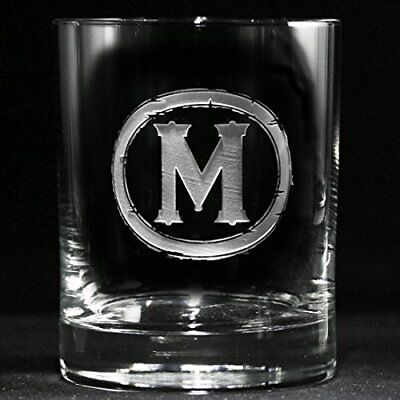 Engraved Double Old Fashioned Glass, Whiskey, Scotch, Bourbon SET OF 4 (M9)