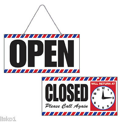 Barber Shop Openclose Sign Wchain Suction Cup Mount Adjustable Clock