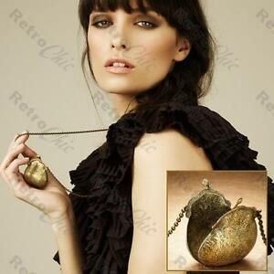 PURSE handbag VINTAGE BRASS FASHION avon LONG NECKLACE chain locket RYLA boxed