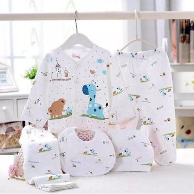 Newborn 0-3 Months T-shirt Top+Pants Set Baby Boy Girls Outfit Kids Clothes 5pcs