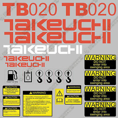 Takeuchi Tb 020 Mini Excavator Decals Equipment Decals Tb020 Tb-020 Tb20 Tb 20