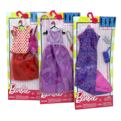 3-Pack Barbie Clothes Genuine Mattel  with Accessories Purses, Headbands, Etc.