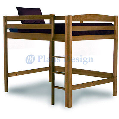 Full Loft Bunk Bed Woodworking Plans Design #1204, Drawings Included Bunk Bed Loft Bunk