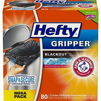 Hefty Gripper Tall Kitchen Blackout Trash Bags Clean Burst 13 Gallon 80 Count