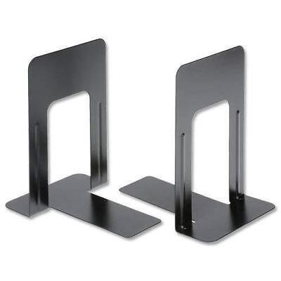 2 Pairs Heavy Duty Metal Bookends Home School Office Stationery Black Book Ends