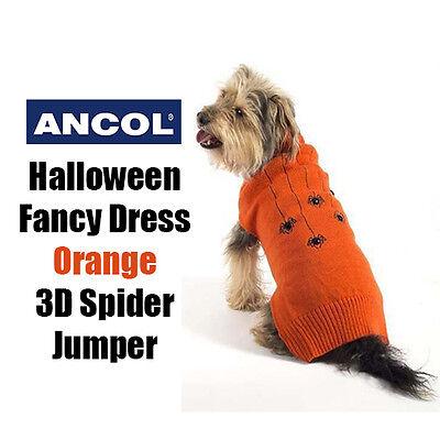 Ancol Dog Jumper Halloween Spooky Orange Spider Sweater  Fancy Dress All Sizes