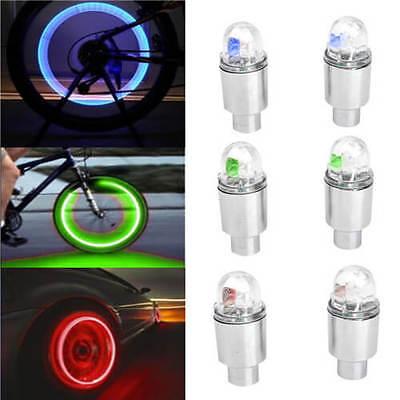 2 x LED Flash Light Lamp Bike Car Tire Tyre Wheel Rim Valve Sealing Caps New US