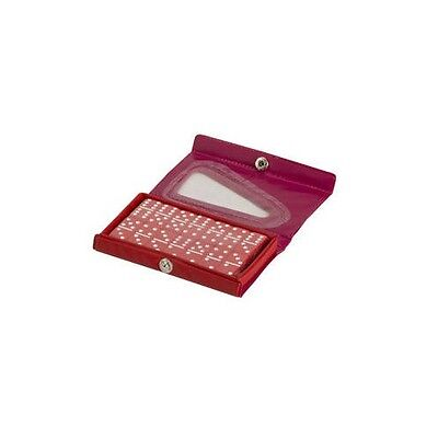 Travel Double Six Dominoes (Dominoes Double 6 Six Travel Size Mini Set Red Tile & Case New )