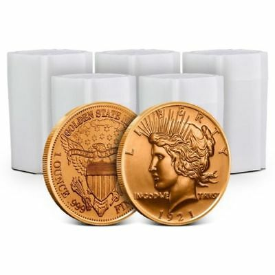 Lot of 100 - 1 oz Copper Rounds Peace Dollar