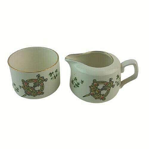 Carrigaline Pottery Co.Ltd. Cork Ireland Tara Brooch Celtic Creamer & Sugar Dish