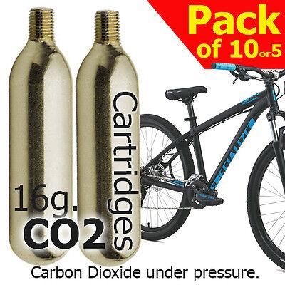 co2 16g x10,x5 Threaded Cartridges for Pump Inflators, Bike tyre pumps Gas