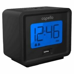 Capello Compact Digital Alarm Clock w/ USB Charger - Black CA-10