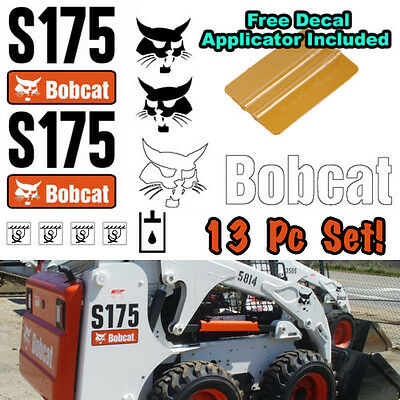 Bobcat S175 Skid Steer Set Vinyl Decal Sticker 13 Pc Set Free Decal Applicator