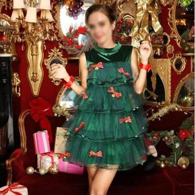 Christmas Tree Costume Womens Ladies Sexy Xmas Presents Fancy Dress Outfit New - Christmas Tree Costumes