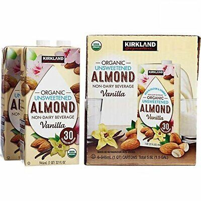 Kirkland Signature Organic Non-Dairy Unsweetened Vanilla Almond Beverage Cartons Almond Non Dairy Beverage
